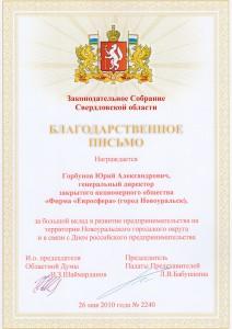 Благодарственное письмо «За большой вклад в развитие предпринимательства на территории Новоуральского городского округа»