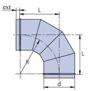 отвод 90 круглого сечения для вентиляции чертеж