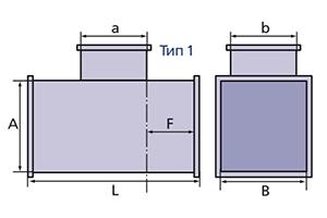 тройник прямоугольного сечения схема
