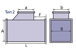 тройник прямоугольного сечения схема2
